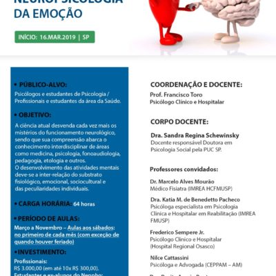 Inscrições Abertas: Curso de Neuropsicologia da Emoção