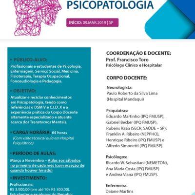 Inscrições Abertas: Curso de Atualização em Psicopatologia 2019